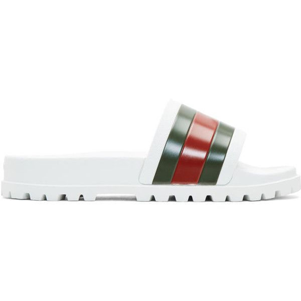 Gucci White Striped Pursuit Trek Slides ($200) ❤ liked on Polyvore featuring men's fashion, men's shoes, men's sandals, white, mens slip on shoes, mens rubber shoes, mens square toe shoes, gucci mens shoes and mens white sandals