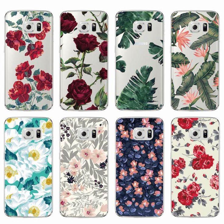 Moda Vintage Floral Flor Color de Rosa Suave del Claro TPU Cubierta de la Caja Del Teléfono Fundas Coque Para Samsung Galaxy A5 J5 Borde S6 S7 S8