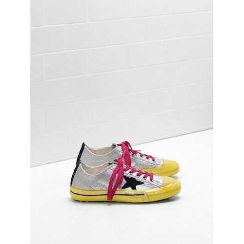 Scarpe Sconto Golden Goose DB V-Star 2 Donna Sneakers Argento Pesca Giallo Saldi