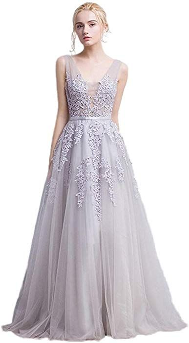 50ffe49335dc Amazon.com: Babyonlinedress Women's Double V-Neck Tulle Appliques Long  Evening Cocktail Gowns (Dusty Pink,4): Clothing