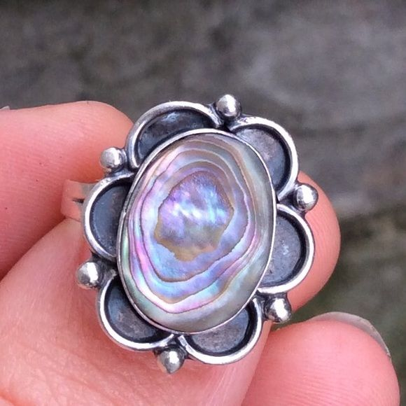 vintage sterling silver taxco abalone ring size 6