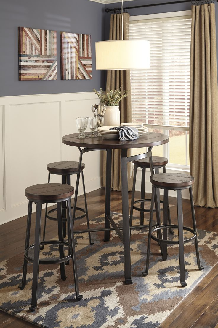 Ashley Furniture Signature Design Challiman Round Dining Room Bar Table Rustic Brown The Rich Of Collection Features
