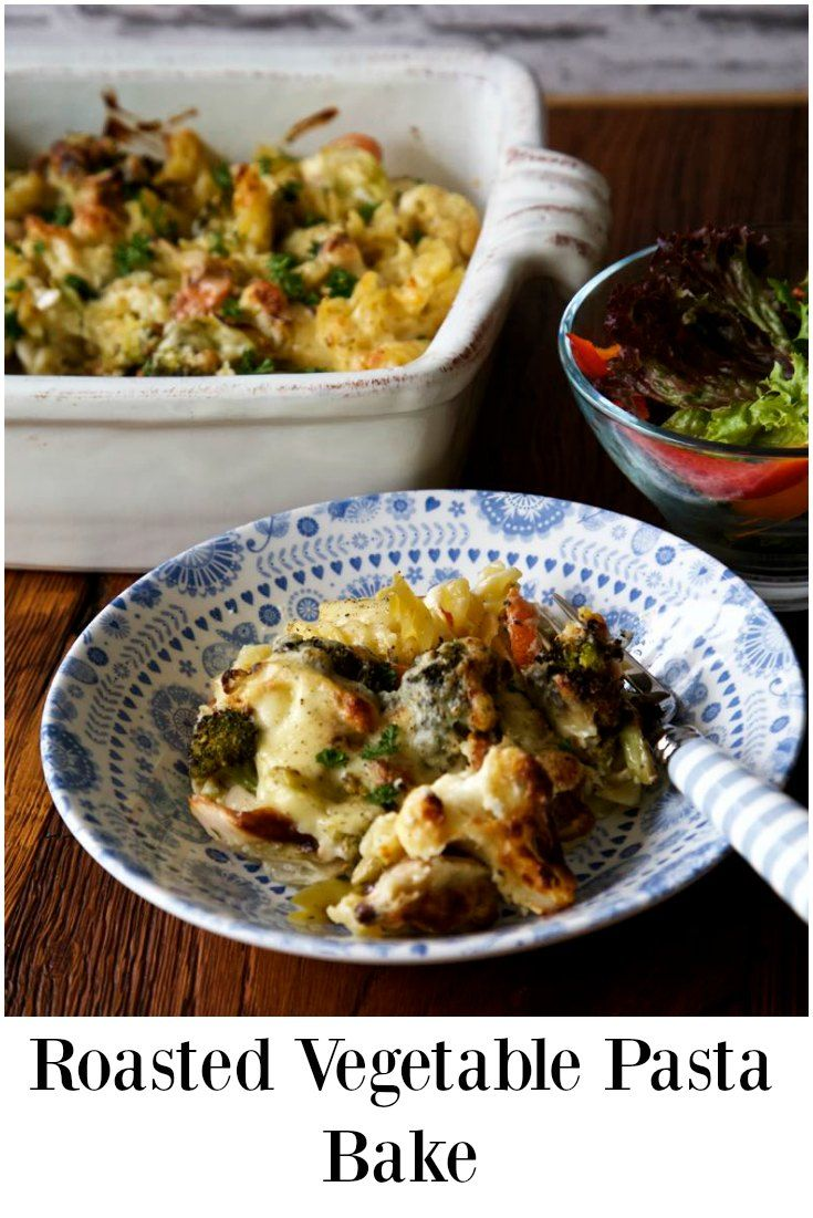 Roasted Vegetable Pasta Bake - A perfect midweek meal and winter warmer or served as a side dish with lentil loaf for a vegetarian Sunday lunch http://thinlyspread.co.uk/2016/11/09/simple-roasted-vegetable-pasta-bake/