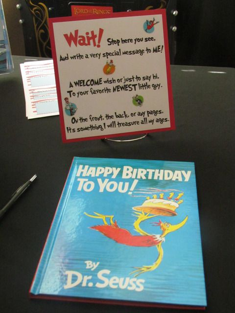 Dr. Seuss  / Baby Shower/Sip & See / Party Photo: Guests  were asked to sign the book as they arrived.