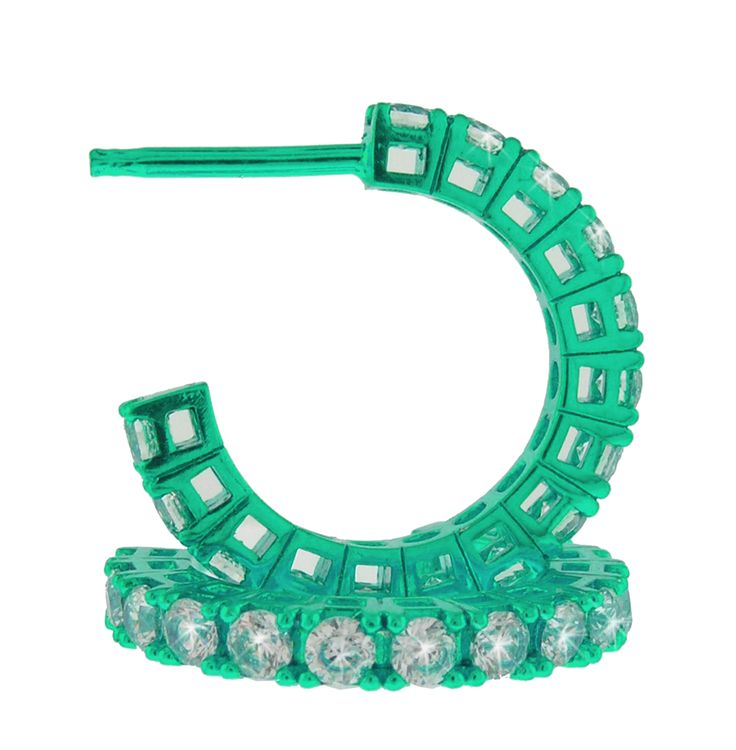 orecchini verdi con zirconi bianchi