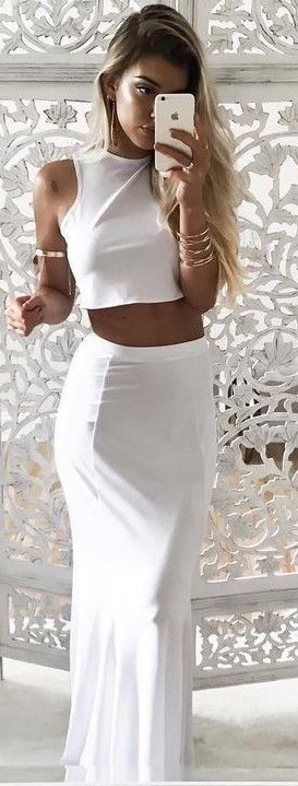 #summer #young #outfits | White Two Piece Maxi Dress