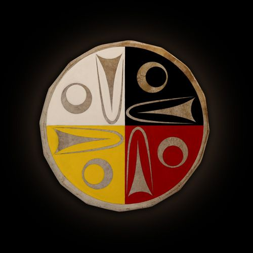 "Drum - ""Pan-Indianism, Cultural Distinction"" lessLIE (Coast Salish), 2010. Artist statement: ""This circular Coast Salish drum is simultaneously a reflection of the cultural phenomenon of pan-Indianism and a visual deconstruction of it, acknowledging the political importance of such indigenous unity. With utmost respect for First Nations culture, which believe in medicine wheels, this design utilizes the Coast Salish iconography of salmon in the design to make it distinctly Coast Salish."""