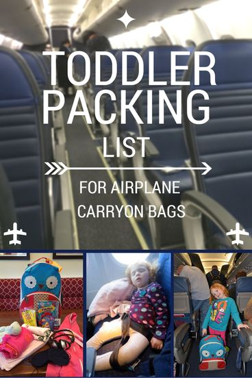 Toddler Packing List for Airplane Carryon Bags