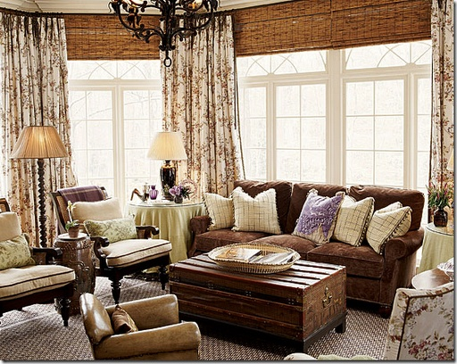 Love the bamboo shades layered with toile curtains in brown