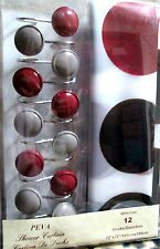 Red Black and Grey Curtains | RED/GREY CIRCLES PRINTED NEW 13PC BATHROOM SHOWER CURTAIN SET W ...