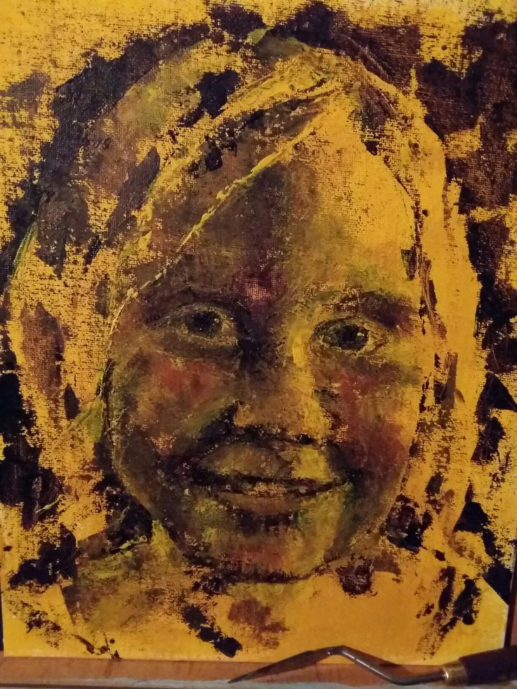 'Renske' geschilderd met paletmes. Acrylverf op canvasbord