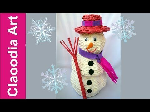 Muñeco de nieve con papel de mimbre - YouTube