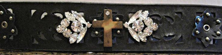 Cross Cuff Bracelet made from a Goodwill Belt.
