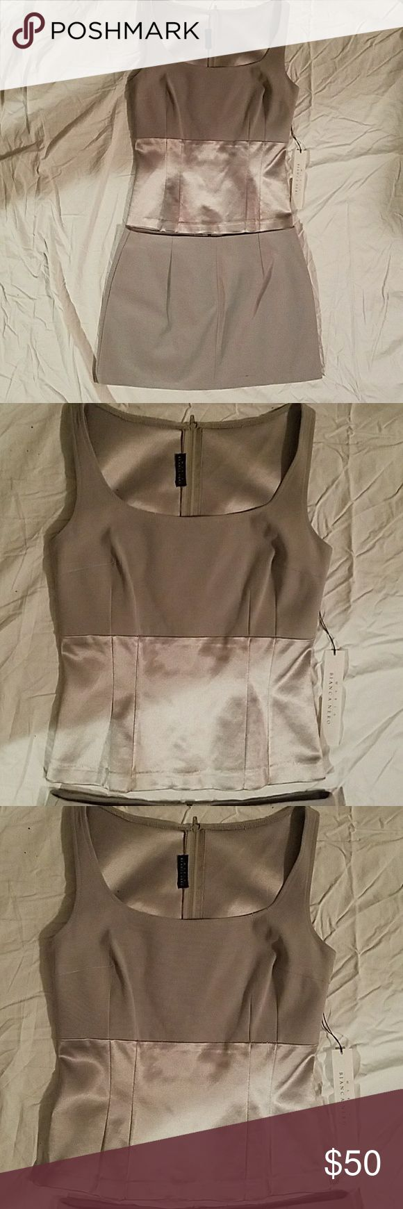 NWT 2 piece silver/grey Maria Bianca Nero NWT, sz small top  sleeveless fitted top and mini skirt sixe medium. Both zip in the back. Skirt is 13 inches long & 18 inches wide. Designer Maria Bianca Nero maria Bianca Nero  Other