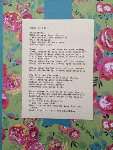 311: Amber Lyrics  Original Typography 5x7 by TypographyByMel
