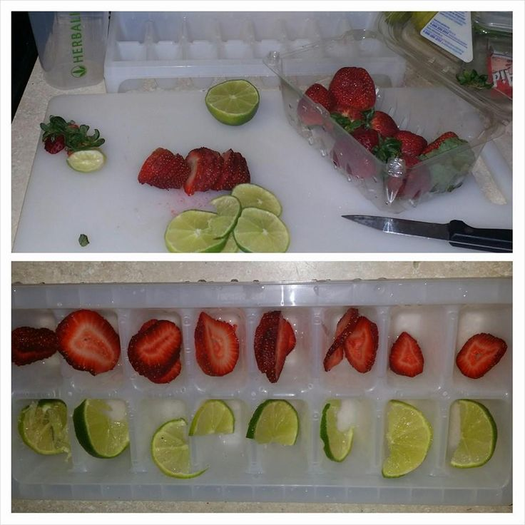 Fruit infused ice cubes!  Idea by a challenger in my drink a gallon of water a day challenge!  So genius :)