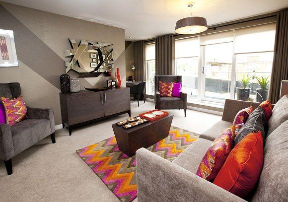 brown-orange-living-room-grey-pink-orange-rug-modern-keir-homes-achica-580