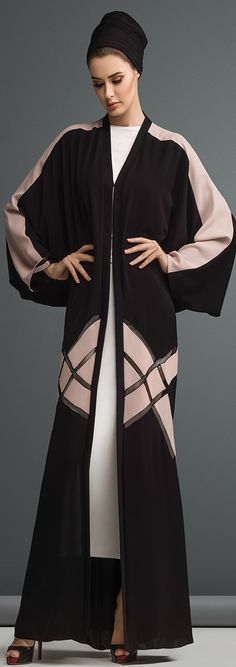 Mauzan abaya Dubai.Work  :Colored Fabric inserted design Fabric :Black + Colored Crepe