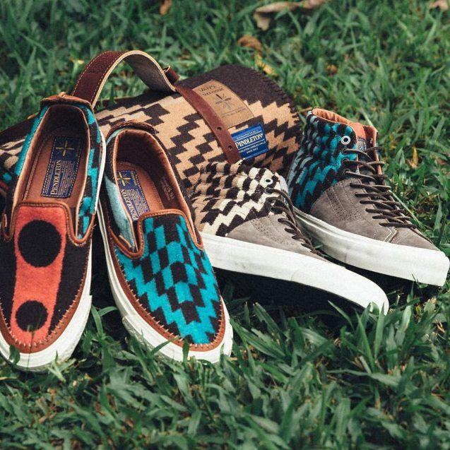 Pendleton x Taka Hayashi x Vault by @Vans. Heritage craftsmanship meets high design for this colorful collaboration. #pendleton #vans #sneakers #footwear #design #color