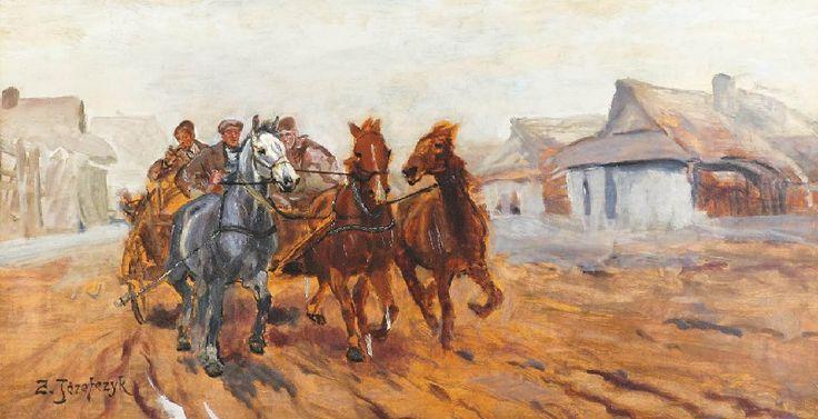 Zygmunt JÓZEFCZYK (1881 - 1966)  Konie w zaprzęgu