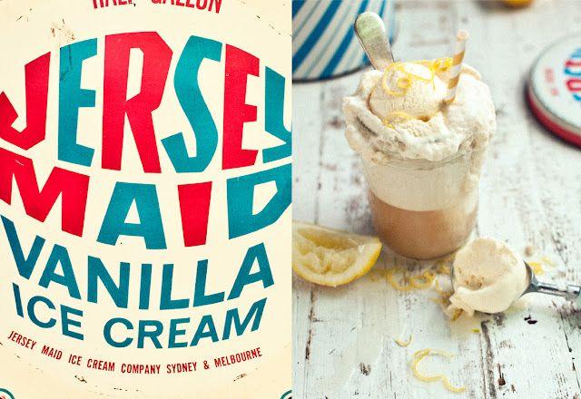 Lemon, ginger and rosemary ice-cream, hot lemon syrup.