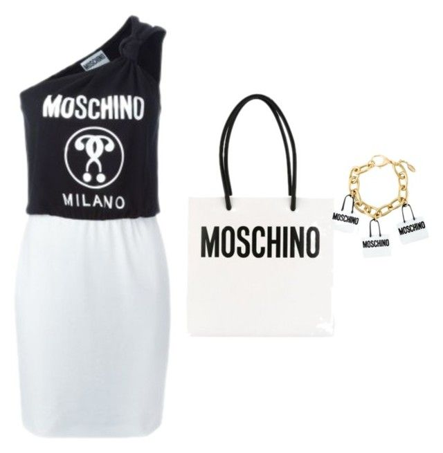 """""""Moschino black & white"""" by storetip on Polyvore featuring women's clothing, women, female, woman, misses and juniors"""