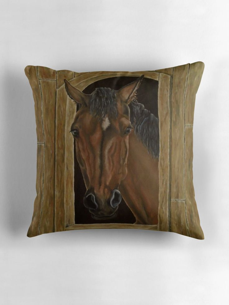 Throw Pillow,  home,accessories,sofa,couch,decor,cool,beautiful,fancy,unique,trendy,artistic,awesome,fahionable,unusual,gifts,presents,for sale,design,ideas,items,products,brown,horse,portrait,wild,animal,wildlife,equine,redbubble
