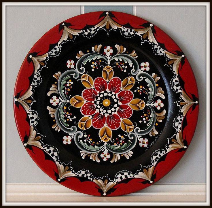 "14"" Hand painted wooden plate , Rogaland , Norwegian Rosemaling #Scandinavian"