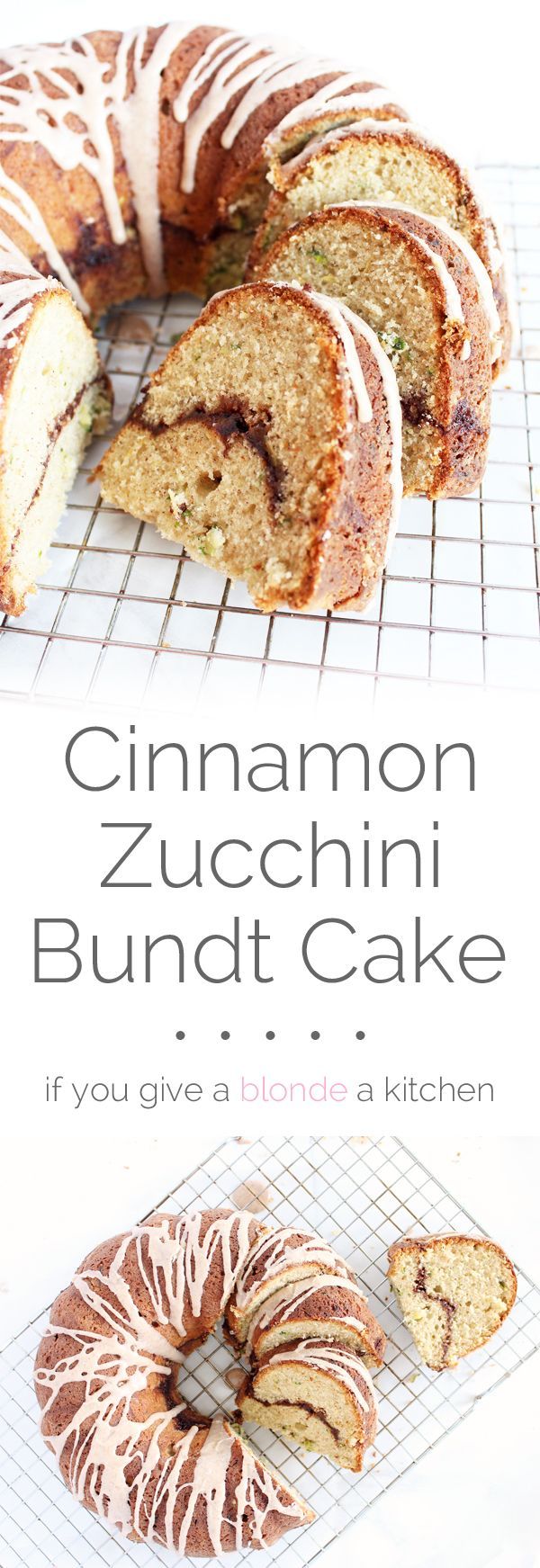 Cinnamon zucchini bundt cake combines cinnamon swirl cake with zucchini bread to create a deliciously sweet late-summer dessert. | www.ifyougiveablondeakitchen.com