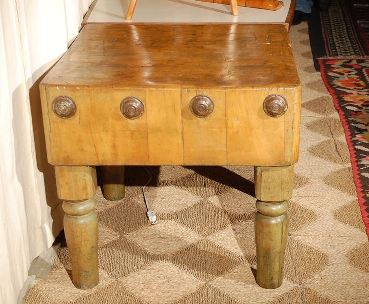 for sale on late century french oak butcher block table with round iron details