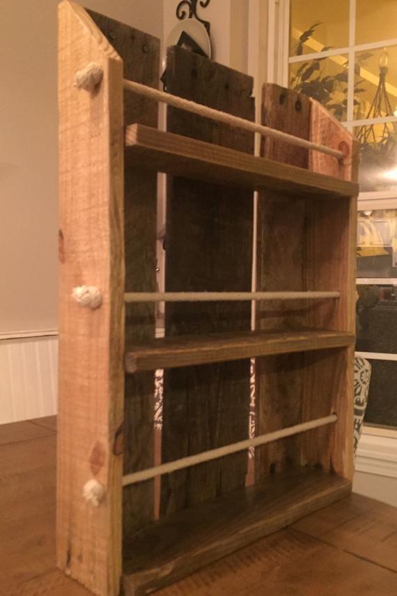 reclaimed wood spice rack countertop or hangable spice rack etsy in 2020 wood spice rack spice rack wood pinterest