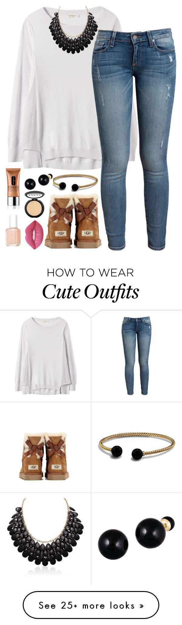"""""""I know it's spring but winter outfits are way cute!"""" by classyandsassyabby on Polyvore featuring Rebecca Taylor, Paige Denim, David Yurman, Lord & Taylor, UGG Australia, Clinique, LORAC, Essie and Lime Crime"""