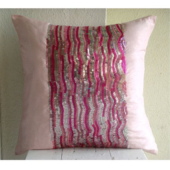 Pink Decorative Pillow Cover  Square  Fuchsia And Silver