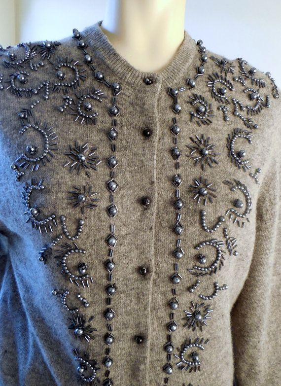 Vintage 70s wool Grey Sweater Beaded Pearls by stilettoRANCH, $36.00