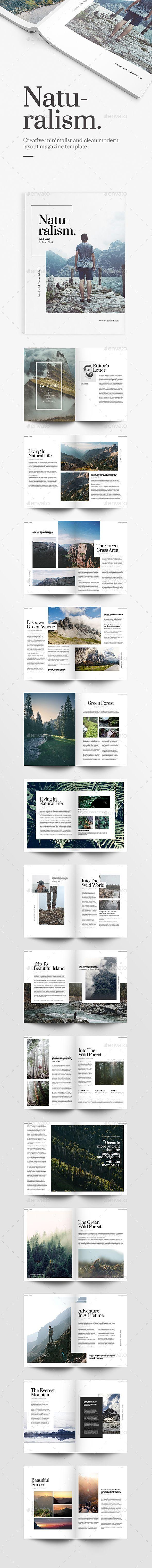 Naturalism Magazine Template InDesign INDD. Download here: https://graphicriver.net/item/naturalism-magazine-/17277074?ref=ksioks