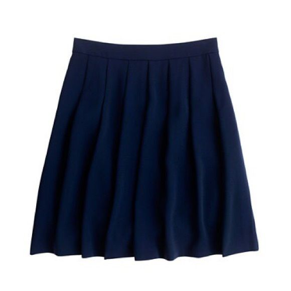 "J Crew Pleated Crepe Skirt A sharp row of pleats beneath the waistband of this skirt gives way to a soft, full silhouette that just grazes the knee. We love it for its swingy movement almost as much as its rich jewel tones (it's a toss-up).  Polyester. Back zip. 20"" long 17.5"" across waist lying flat. Lined. Has been dry cleaned. EUC J. Crew Skirts A-Line or Full"