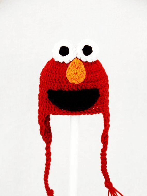 Elmo Monster Earflap Hat from Sesame Street, Red Crochet Beanie ...