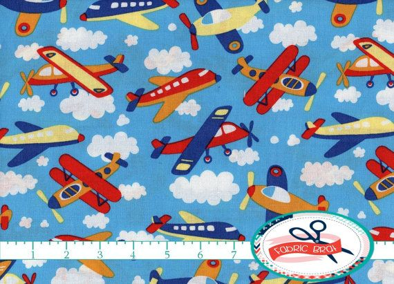 AIRPLANE Fabric by the Yard, Fat Quarter SKY Blue Fabric CLOUD Fabric Jet Planes Fabric 100% Cotton Fabric Boy Quilting Fabric Yardage t5-19