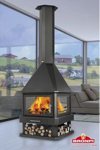 wood stove in middle of room - Google Search
