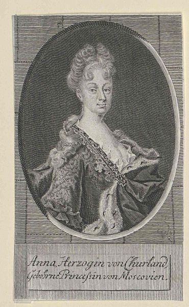 Portrait of Empress Anna of Russia (1693-1740) by her marriage in 1710 Duchess of Courland,from 1710 until 1740-Austrian National Library.