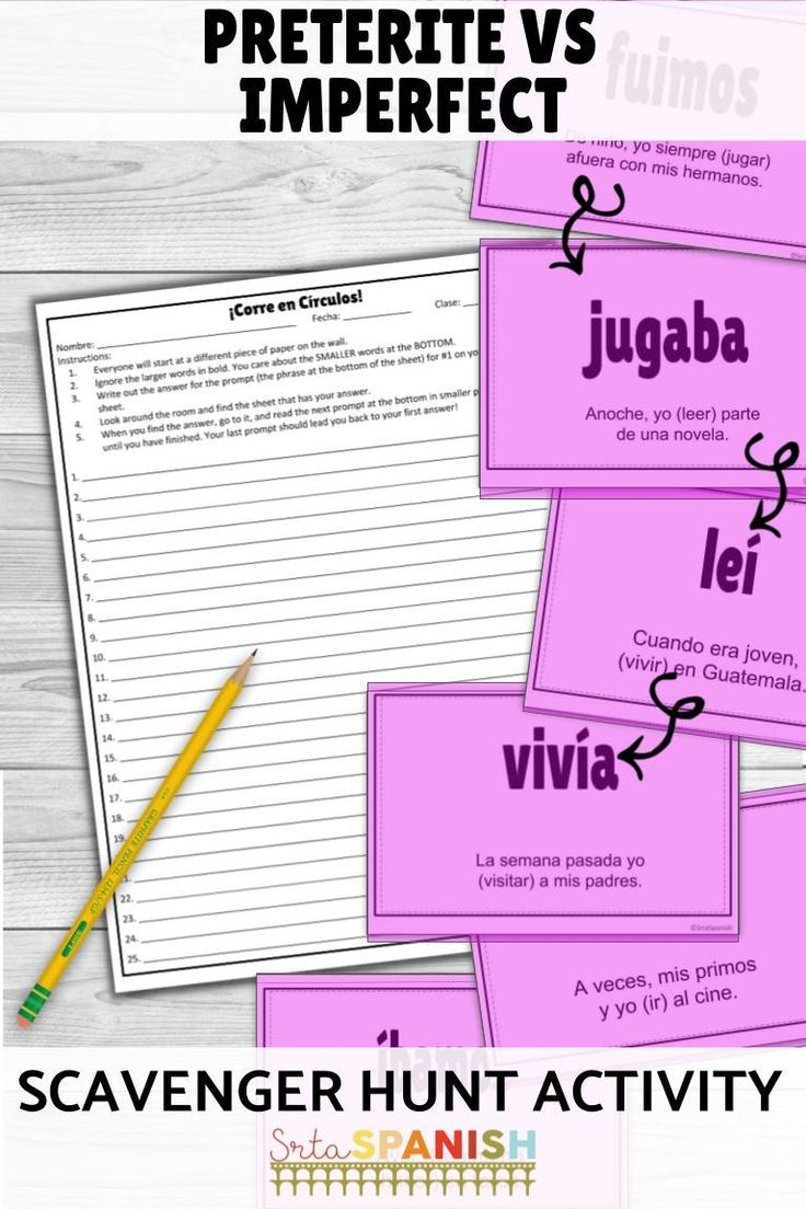 Need Something Fun For Preterite And Imperfect Check Out This Scaveng Spanish Lesson Plans High School Spanish Teacher Resources High School Spanish Classroom [ 1104 x 736 Pixel ]