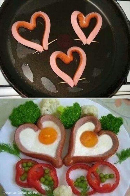 Breakfast heart egg using (slice down the center) hotdog! @Jenifer Blackburn Clipperton