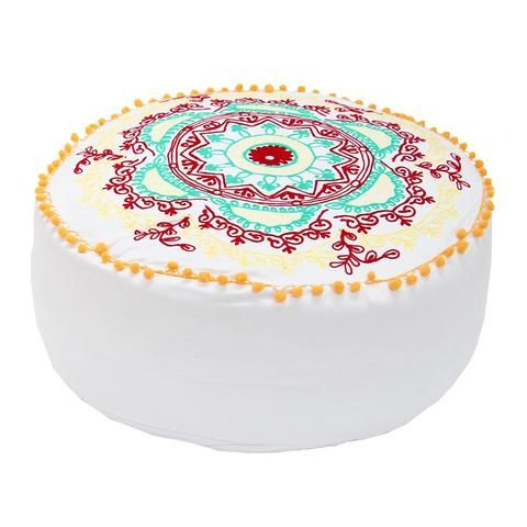 white embroidered pouffe