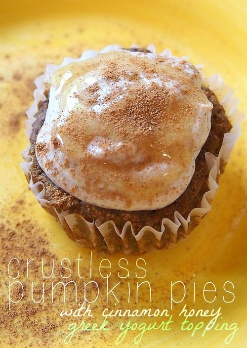 Crust-less pumpkin pies! Oh and by the way, these are: Gluten Free! No Sugar Added! Protein Packed! Low Calorie! Low Carb! High Fiber! No Oils or Butter! No Flour! 61 Calories, 8 g Carbs, 2 g Fat, 5 g Protein, 4 g Fiber, 3 g Sugar