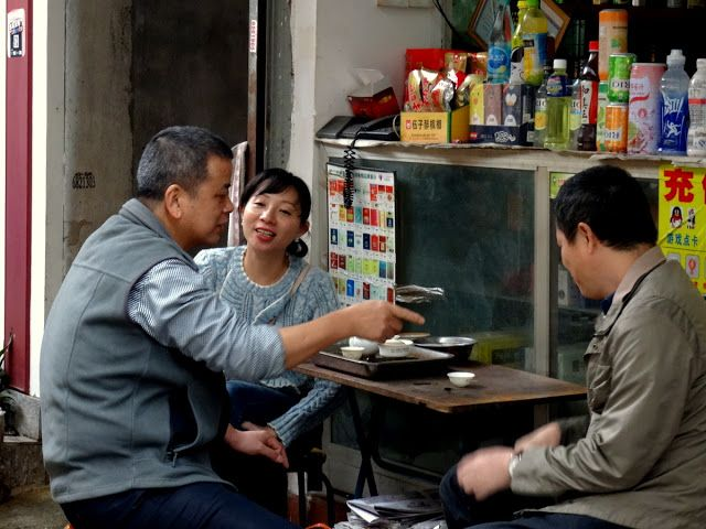 Drinking tea in Zeng Cuo An village in Xiamen
