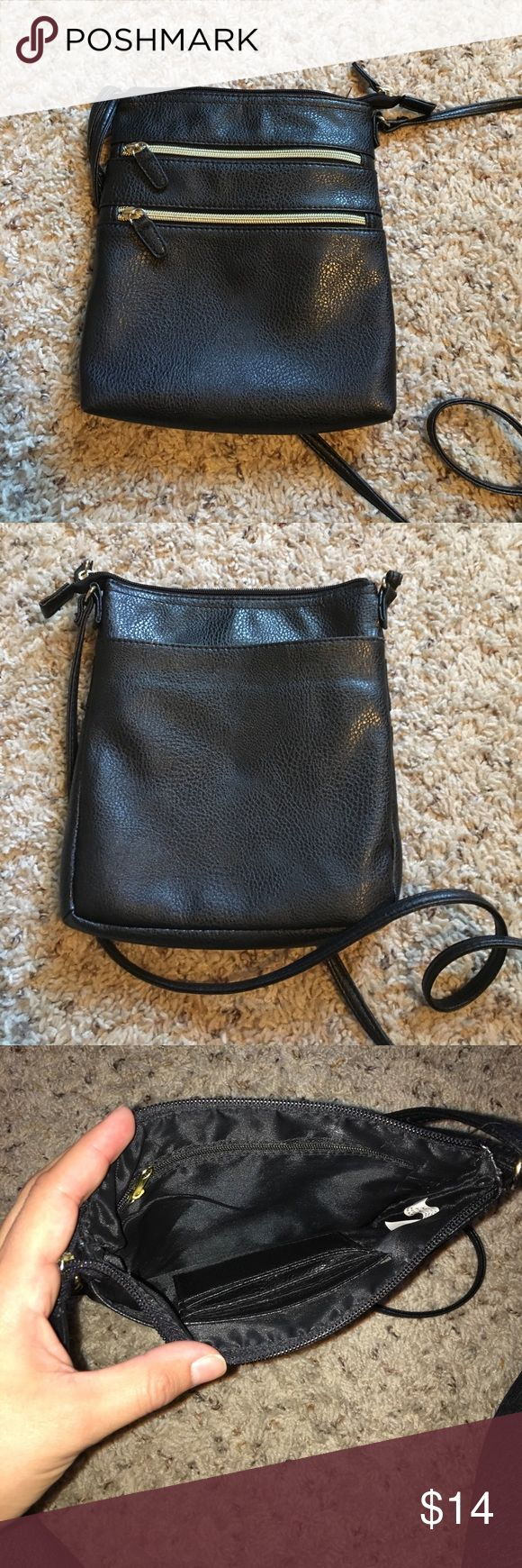 "Black small cross body purse Has two front pockets with working zippers, one small zipper pocket inside, & 3 card holder slots inside, as well with a open pouch in back for extra space :) one of my favorite, just have so many other bags now!:( great small bag for work or festivals. Price set for offers, purchased at Target believe the brand name is Merona . Size is 9""X7"" Bags Crossbody Bags"