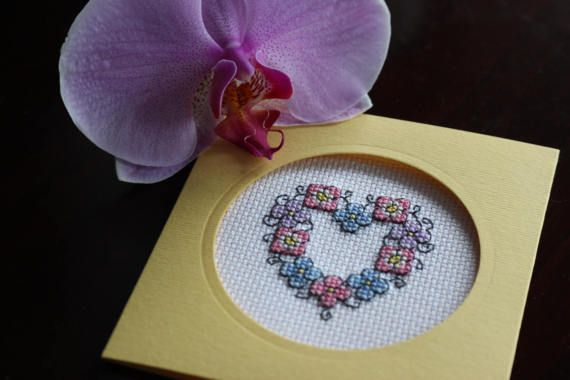 Card handmade, Cross stitch on canvas evenweave, Flower love, Personalized Greetings card , Birthday girlfriend, Mathers day