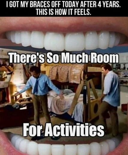 I got my braces off today after 4 years. This is how it feels. There's so much room for activities.  #FunnyBone Peckosh Pediatric Dentistry | #Dubuque | #IA | htpp://peckoshpediatricdentistry.com/