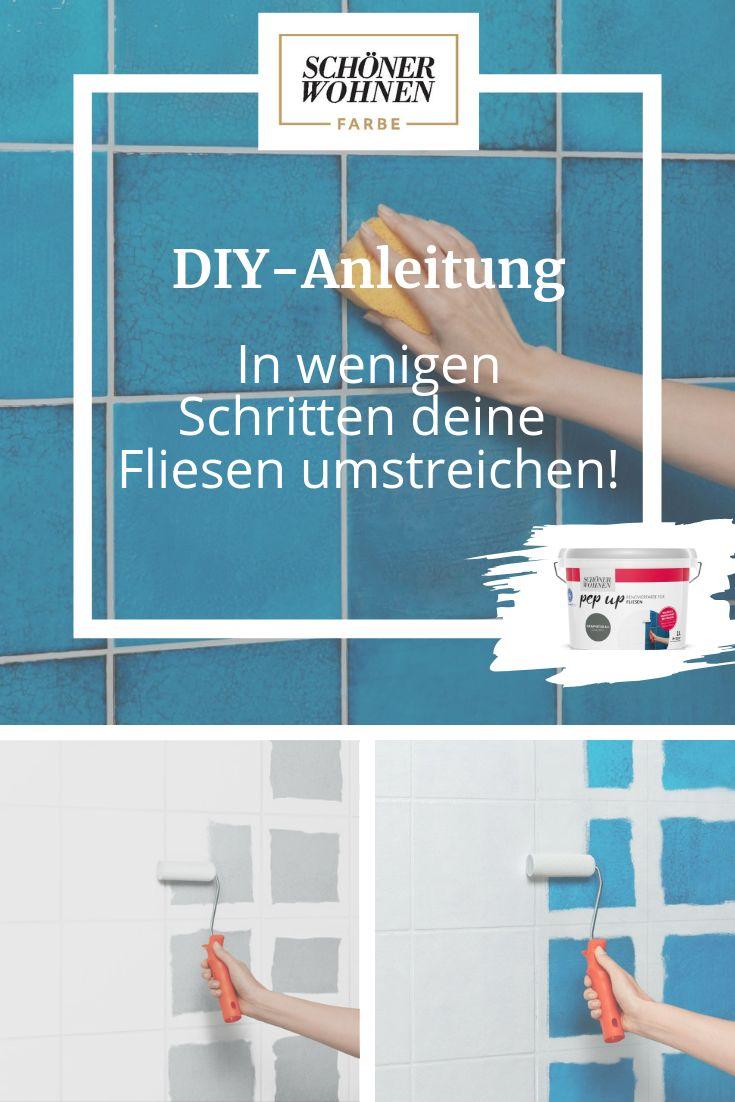 Fliesen-Makeover mit dieser einfachen DIY-Anleitung: Streiche in wenigen Schritten deine Wandfliesen mit den pep up Renovierfarben von Schöner Wohnen…