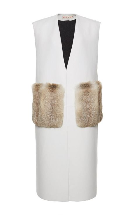 Collarless Lambskin Waistcoat With Fur Pockets by Marni for Preorder on Moda Operandi